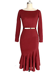 SEXY Women's Color Block Blue / Red / Black Dresses , Vintage / Sexy / Casual / Work Round Long Sleeve