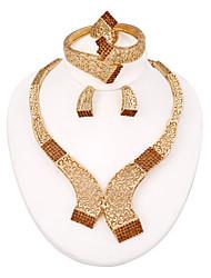 westernrain 2014 braun Strass Charme Halskette Ohrringe Frauen Schönheit vergoldet afrikanische Schmucksets