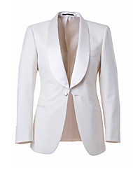 Suits Tailored Fit Shawl Collar Single Breasted One-button Wool & Polyester Blended Solid 2 Pieces White