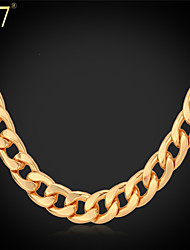 U7® Men's Retro Cuban Link Chains 18K Gold/Rose Gold/Platinum Plated Men Jewelry Classical Chain Necklaces