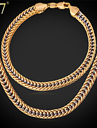 U7® Men's Gold Franco Chain Rock Band Jewelry Platinum/Gold Plated Unique Hip Hop Two-Tone Gold Necklace Set