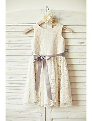 Sheath/Column Knee-length Flower Girl Dress - Lace  Sleeveless