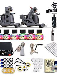 Complete Tattoo Kit 2 Machines Gun 6 Color Inks Power Supply Needles Set