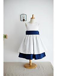 Linha A Até os Joelhos Vestido para Meninas das Flores - Algodão Sem Mangas Decote em U com
