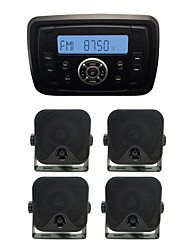 Waterproof Marine Radio Stereo ATV UTV Audio Receiver+2Pairs 3.5 Inch Black Waterproof Speakers