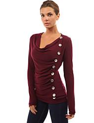 U-hals - Katoen / Polyester / Acryl - Knoop / Met ruches - Vrouwen - T-shirt - Lange mouw