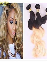 baratos 3 feixes promoções cabelo humano extensão Mechas weave brasileiro virgem não transformados onda do corpo cabelo 8a série