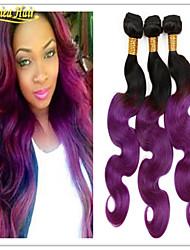 deux tons ombre mauve, cheveux les lots des 1b / violet vague de corps de qualité 8a brésiliens faisceaux de tissage brésilien