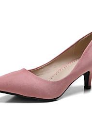 Women's Shoes Suede Kitten Heel Heels / Pointed Toe / Closed Toe Heels Dress Black / Pink / Almond / Burgundy