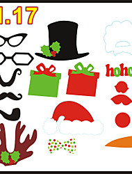 17 PCS Card Paper Photo Booth Props Party Fun Favor (Including Sticks and Glue) for Christmas