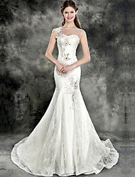 Trumpet/Mermaid Wedding Dress - Ivory Chapel Train Jewel Lace