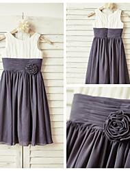 Sheath/Column Knee-length Flower Girl Dress - Chiffon Sleeveless