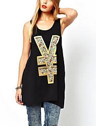 Women's Print Black Vest , Round Neck Sleeveless