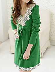 Maternity Dress,Polka Dot Round Neck Above Knee Long Sleeve Black / Green Polyester Spring Inelastic Medium