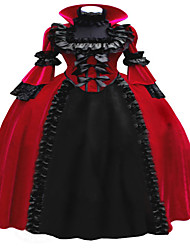 Steampunk®Marie Antoinette Period Dress Long Red and Black Vintage Prom Dress