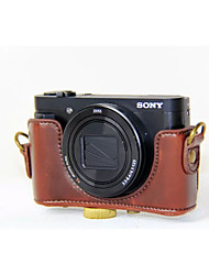 dengpin® pu bolsa de câmera caso couro cubra com alça de ombro para Sony DSC-hx90v hx90 wx500 (cores sortidas)