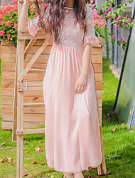 Women's Casual Solid A Line Dress , Round Neck Maxi Chiffon