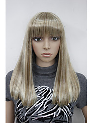 Natural  Blonde Mix highlight Straight Women Full Synthetic Hair Wig