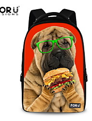 FOR U DESIGNS Cotton Casual Dog Wearing Glasses Shoulder Bags/Laptop Backpacks/School Bags