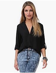 Damen Hemd  -  Gespleisst Chiffon Langarm V-Ausschnitt