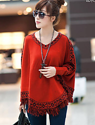 Women's Floral Red / Brown / Gray Shrug , Casual / Cute Long Sleeve