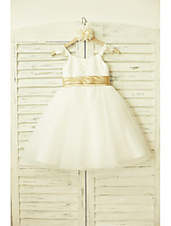 A-Line Knee Length Flower Girl Dress - Lace Tulle Sleeveless Straps with Ribbon
