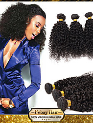Febay Hair Brazilian Virgin Hair Kinky Curly 12 14 16 18 20 22 24 26 28 30 Inch 1pcs/lot 100g/pcs