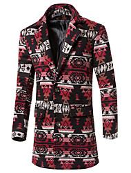 Men's Stand Coats & Jackets , Cotton / Cotton Blend Long Sleeve Casual Pocket Winter T-WARM