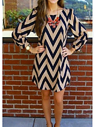 Women's Striped  Vintage Long Sleeve  Dress