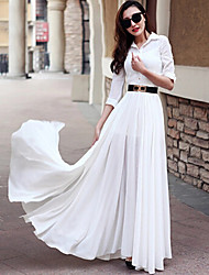 Women's Casual / Day Solid Dress , Shirt Collar Maxi Chiffon