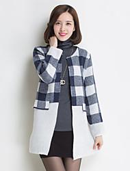 Nizi Women'S No Deduction Plaid Sweater Pocket Stitching Sweater Coat
