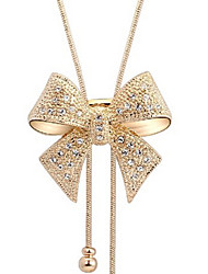 Lucky Doll Women's All Matching Cubic Zirconia Long Bow Long  Necklace