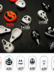 Super Cute!! 10pcs/lot 2015 New Halloween Nail Art Decoration 3D Skull & Pumpkin Skull Nail Charm Decals Nail Jewelry