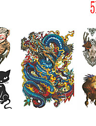 (5PCS) 2015 Latest Version High Quality Creative Personality Waterproof One-Time Tattoo Stickers——Dragon And Animals