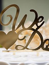 Decoración de Pasteles No personalizado Pareja Clásica Plástico duro Matrimonio / Aniversario / Despedida de Soltera Oro / PlataTema