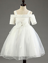 Princess Knee-length Flower Girl Dress - Cotton Tulle Polyester Off-the-shoulder with Flower(s) Lace Sash / Ribbon Pleats