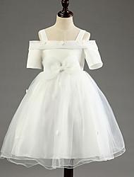 Vestido feminino de princesa vestido de flor com joelho - mangas curtas de algodão fora do ombro com flor