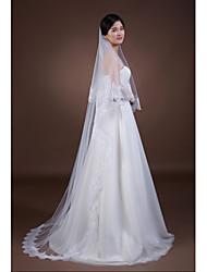 Véus de Noiva Duas Camadas Véu Ponta dos Dedos Véu Capela Borda com aplicação de Renda Tule Branco Marfim
