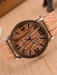 Женские Модные часы Повседневные часы Часы Дерево Кварцевый PU Группа Белый Коричневый Серый