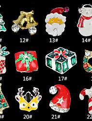 12PCS mixed Alloy 3D Nail Art Christmas Glitter Rhinestones Decorations For Nails  Random Color