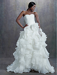 A-line Petite Wedding Dress Chapel Train Sweetheart Organza with