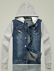 Men's Hoodie Denim Long Sleeve Jacket