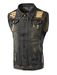Men's Print Sleeveless Top , Cotton / Denim Casual