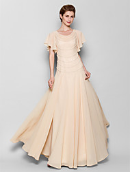 Sheath / Column Plus Size / Petite Mother of the Bride Dress Floor-length Short Sleeve Chiffon with Pearl Detailing