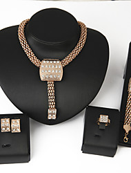 Women Gold Wedding Gifts Rhinestone Alloy Square Necklace Earring Bracelet Ring Four sets