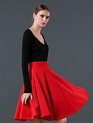 Women's Solid Red / White / Black / Green Skirts , Casual / Work Knee-length