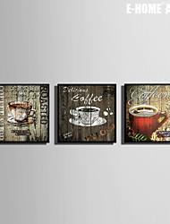 e-home® enquadrado arte da lona, de café do quadro da lona de definição de impressão de 3