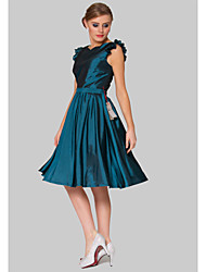 Cocktail Party Dress - Ink Blue Plus Sizes A-line Jewel Knee-length Taffeta