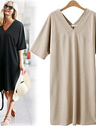 Sweater   Women's Character Black/Beige Dresses , Beach/Casual/Party/Work V-Neck Short Sleeve