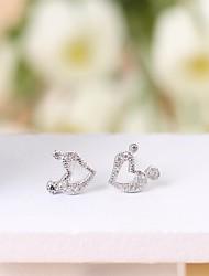 Silver earings 925 women korean tv drama fine jewelry peach heart  3a cz stud earrings brincos vintage tous jewelry